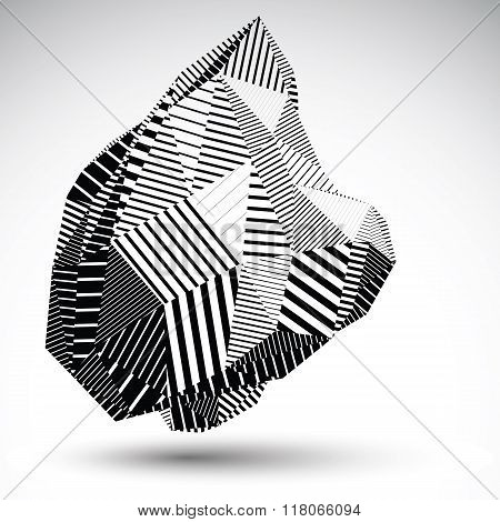 Multifaceted Asymmetric Contrast Figure With Parallel Lines. Striped Monochrome Misshapen Abstract V