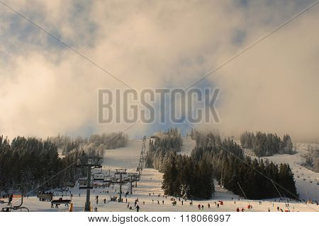 Chair lift in Carpathians. Vintage and retro style