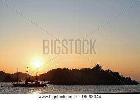 Dawn of islands in Seto inland sea from Tomonoura Hiroshima Japan