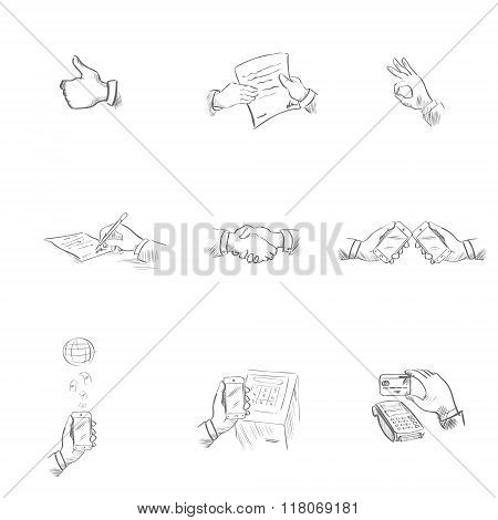 Business Icons Modern Technology, Application, Agreement Concept Sketch