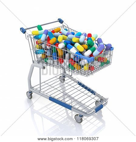 Isolated Shopping Cart Full With Multicolored Capsules