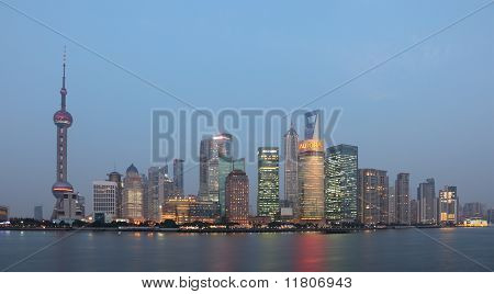 Skyline Of Pudong At Dusk