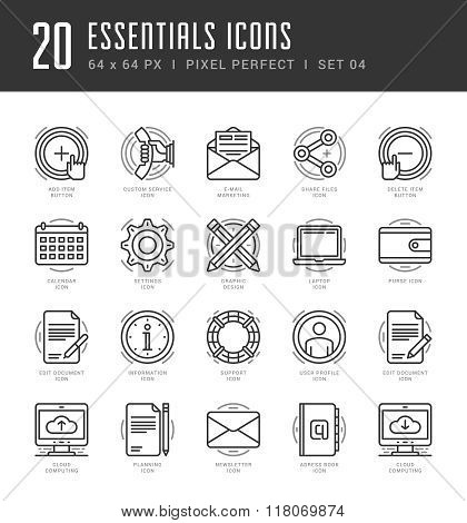 Line icons set. Trendy Modern Flat thin linear stroke vector Essentials Objects concept.