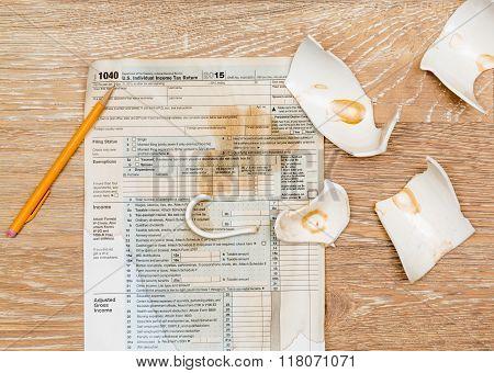 Coffee Spilt On 2015 Irs Form 1040