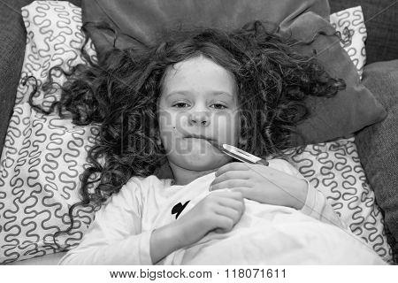 Child Measuring Temperature. Varicella Zoster Virus Or Chickenpox. Black And White Portrait.