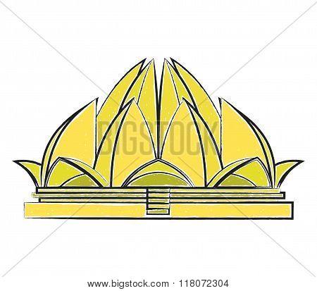 Lotus Temple vector illustration