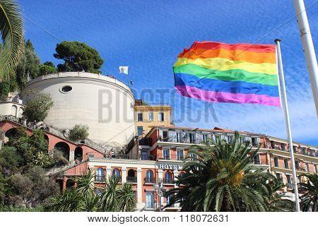 Rainbow Flag In Nice, France