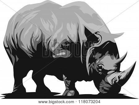 African Rhino. Vector black rhinoceros