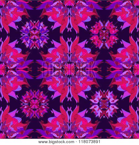 Floral kaleidoscope seamless pattern