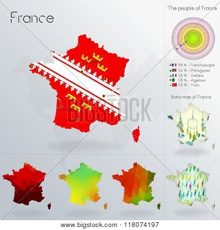 Modern Geometric And Political Map Of France. Alsatians  People Immigration To France. Alsatians Peo