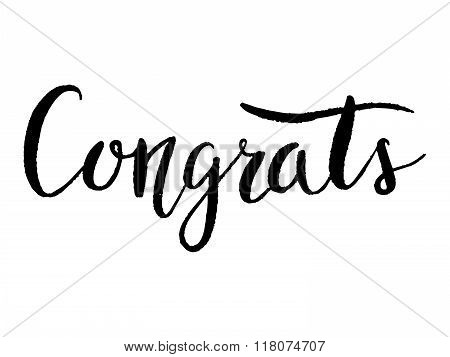 Congrats. hand lettering. Modern calligraphy