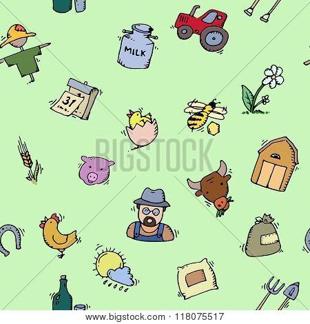 Seamless pattern Hand drawn Farm icon set