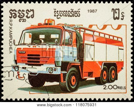 Tatra Fire Engine On Postage Stamp