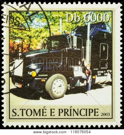 Black Truck On Postage Stamp