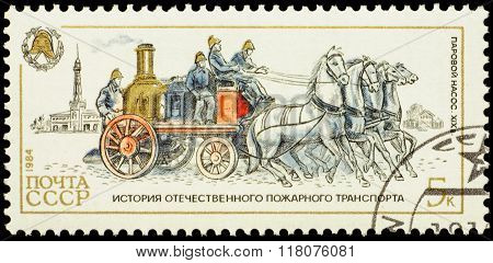 Horse-drawn Firefighting Steam-pump On Postage Stamp