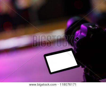close up of a camera near the podium