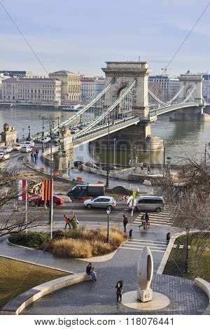 BUDAPEST, HUNGARY - FEBRUARY 02: High angle shot of Szechenyi Chain Bridge with heavy traffic, accross Danube River. February 02, 2016 in Budapest.