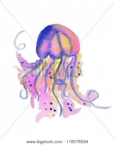 Beautiful watercolor vibrant picture of a floating jellyfish