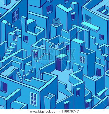 Blue city seamless pattern