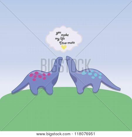 Pair of dinosaur in love