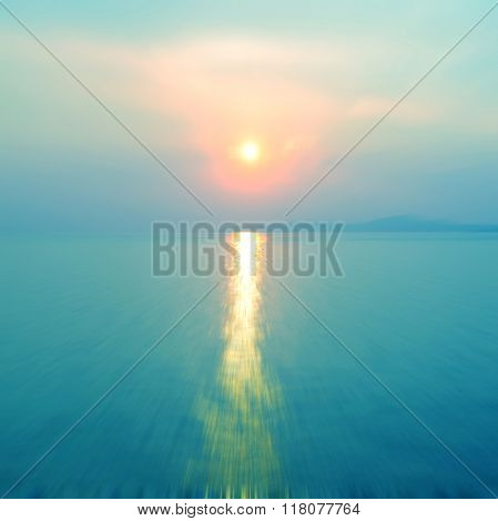 Motion Blurred Background Of Sunset On The Sea