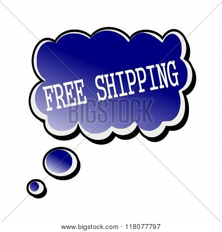 Free Shipping White Stamp Text On Blueblack Speech Bubble