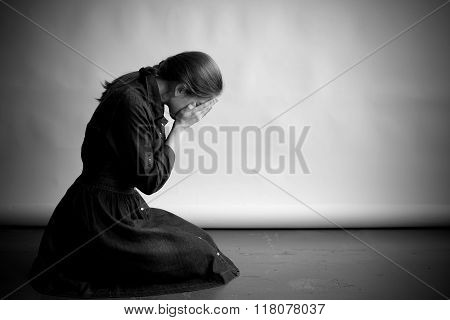 Crying woman in monochrome