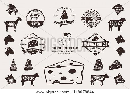 Set Of Vector Cheese Logo, Icons And Design Elements