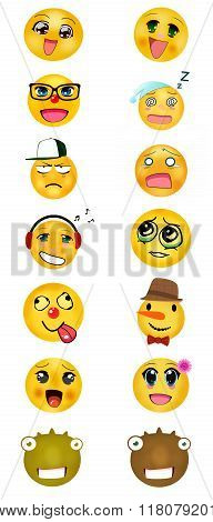 a set of different smileys