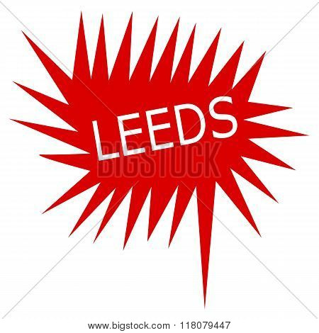 Leed White Stamp Text On Red Speech Bubble