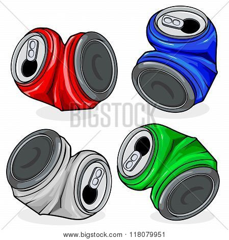 Crushed tin cans