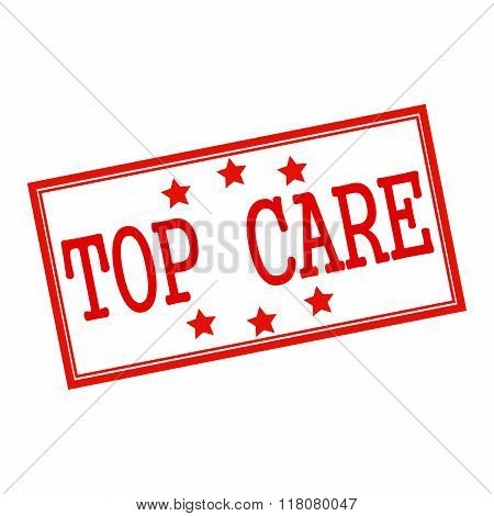 Top Care Red Stamp Text On White