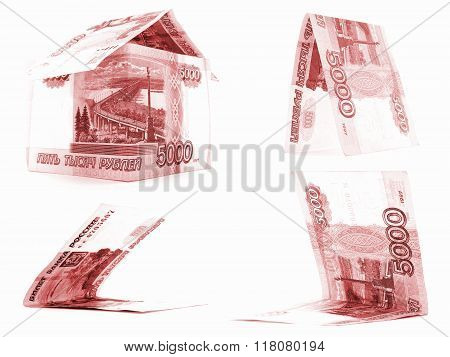 Red 5000 Russian Ruble Set, Rouble House Isolated, White Background