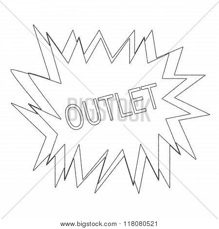Outlet  Monochrome Stamp Text On White Blast
