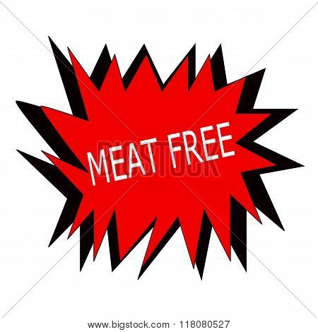 Meat Free White Stamp Text On Red Blast