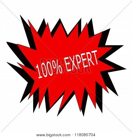 One Hundred Percent Expert White Stamp Text On Red Blast