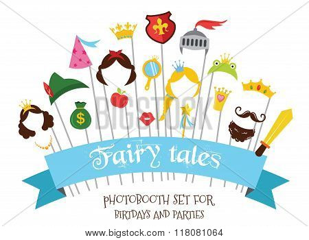 Prince and Princess Party set - photobooth props - mustaches, wigs and objects - vector