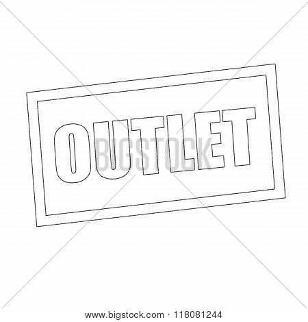 Outlet Monochrome Stamp Text On White