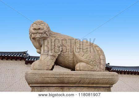 Statue Of A Mythological Lion-like Animal At Gyeongbokgung Palace,south Korea.