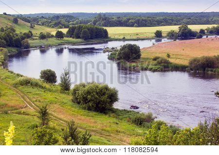 Landscape Of The Valley, River, Trees, And Sky