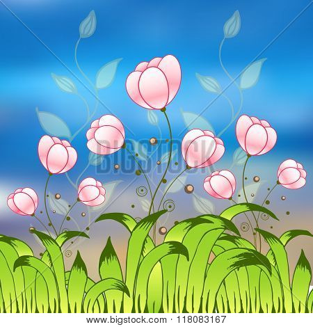 Purple tulips flower field. Card for invitations and other purposes.