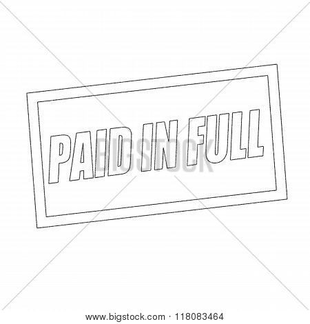 Paid In Full Monochrome Stamp Text On White