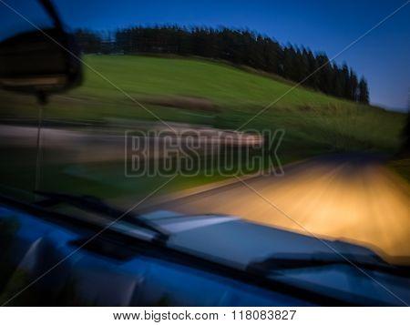 Driving at dusk