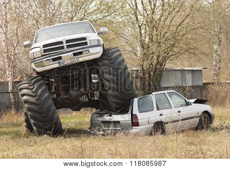 Monster Truck Crush To Old Car During Motoshow In Poland