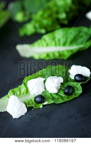 Feta Cheese On  Green Cos Lettuce