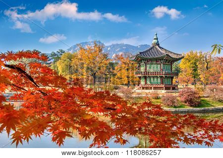 Gyeongbokgung Palace And Soft Focus Of Maple Tree In Autumn,kore