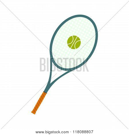 Tennis racquet and a ball flat icon