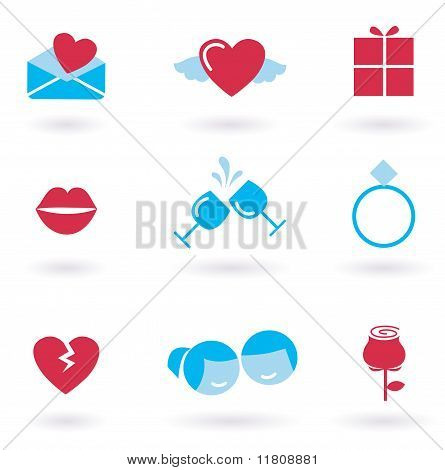 Valentine's day and Love icon collection - red
