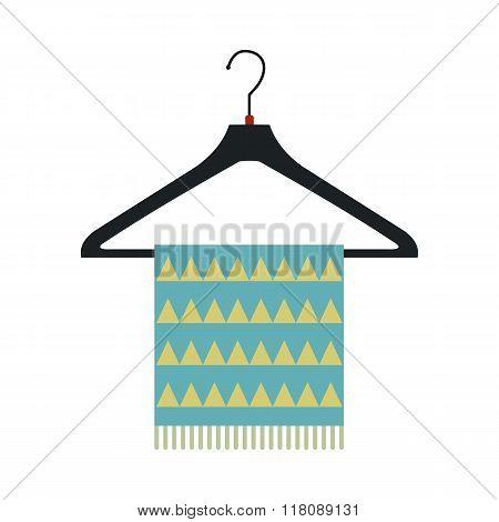 Blue scarf on coat-hanger flat icon