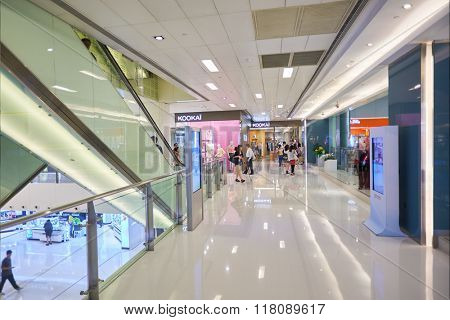 HONG KONG - MAY 17, 2015: New Town Plaza interior. New Town Plaza is a shopping mall in the town centre of Sha Tin in Hong Kong. Developed by Sun Hung Kai Properties.